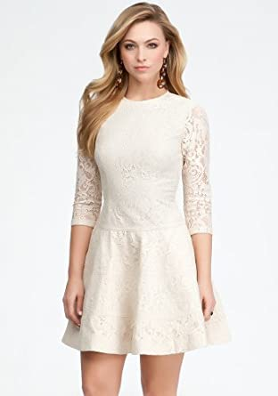 bebe Lace 3/4 Sleeve Fit &Flare Dress Day Dresses Sandshell-m