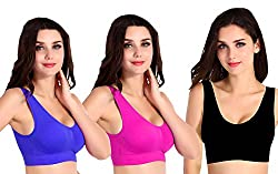 Private Lifes Sports Wire Free Bra (Plsb20159C_Black Pink Blue_Free size) Pack of 3