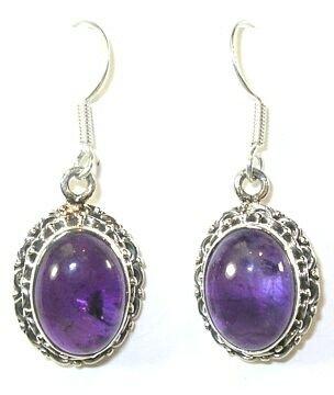 Oval Amethyst & Silver Earrings