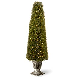 National Tree LCY4-302-60 Upright Juniper Tree in a Silver Urn with 200-Clear Lights, 60-Inch