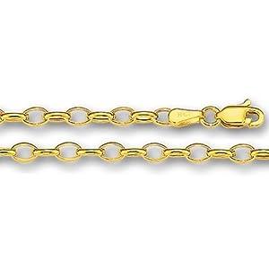 14K Yellow Gold Oval Rolo Link Chain Bracelet - Width 3.2mm - Length 7 Inch