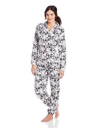Hello Kitty Junior's Animal Print Fleece Pajama Set, Animal, Small