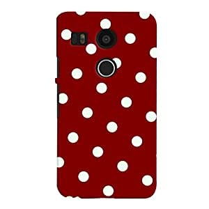 ColourCrust LG Google Nexus 5X New (2016 Edition) Mobile Phone Back Cover With Red And White Polka Dots Pattern Style - Durable Matte Finish Hard Plastic Slim Case