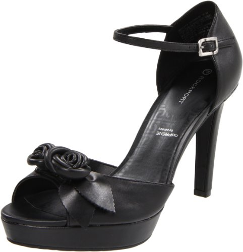 Rockport Women's Janae Sandal Flower Ankle Strap Black Open Toe K61374 6 UK