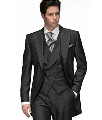 MYS Custom Uomo in coda lunga-Peak risvolto Blazer Suit Gilet Pantaloni Set Nero Black Su Misura
