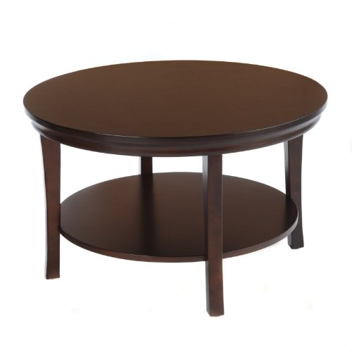 Buy Low Price Bay Shore Collection Round Coffee Table With Lower Shelf Black 30 Inch F68506
