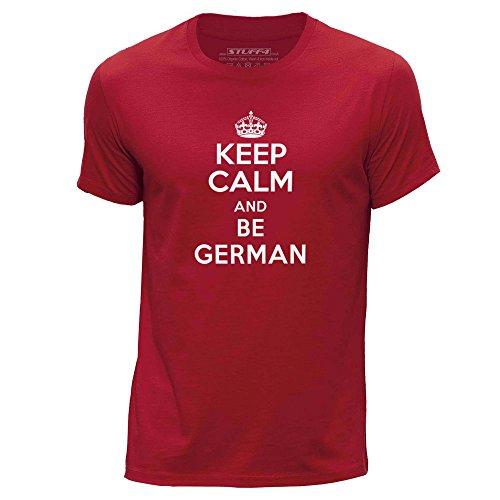 STUFF4-HombresX-Grande-XLRojoCuello-redondo-de-la-camisetaKeep-Calm-Be-German