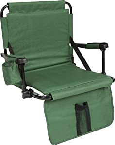 Trademark Innovations Stadium Chair with Under Seat Hooks and Padding, Green