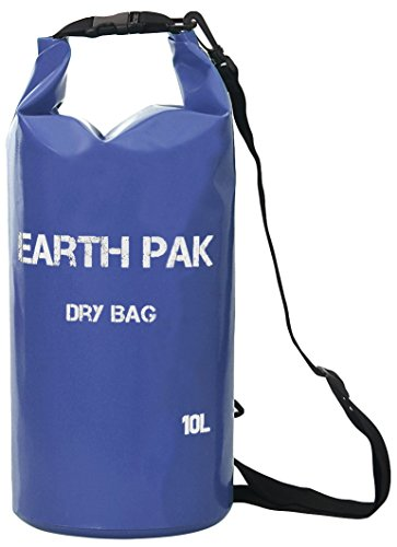 d79e94a4701f Earth Pak Waterproof Dry Bag (10L) With Shoulder Strap ☆ Roll Top Dry  Compression Sack Keeps Valuables Dry for Kayaking