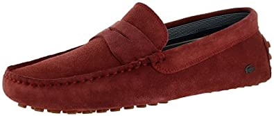 Lacoste Concours 11 Men's Driving Moccasins Slip On Shoes Red Size 9