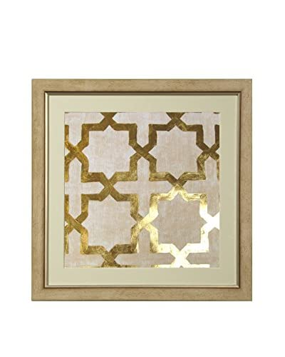 Art Source Gold Leaf Cream Background Print II, Multi