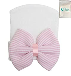 Gellwhu Pink White Blue Newborn Girl Nursery Beanie Hospital Hat With Large Bow (White Pink)