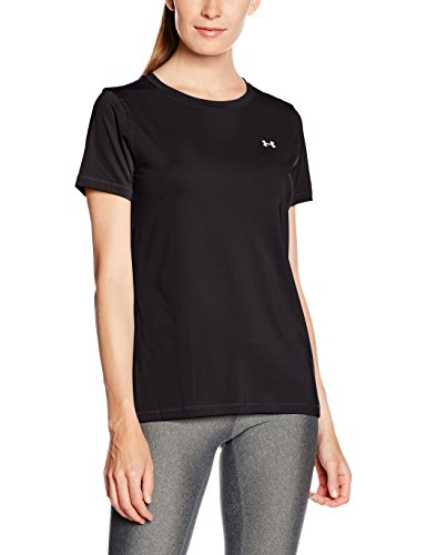 Under Armour UA Hg  SS T-Shirt con Maniche Corte Donna - Nero (Nero) - L