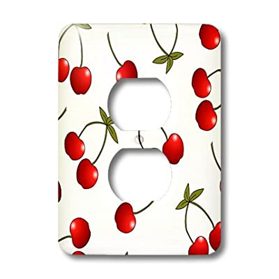 3dRose LLC lsp_24731_6 Cherry Print Juicy Red Cherries On White, 2 Plug Outlet Cover