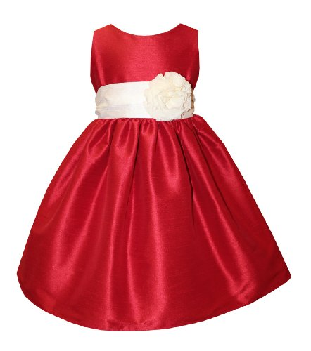 Webb Direct 2U Girls Simply Elegant Red V-Back Poly Dupioni Dress 2 (395) front-841591