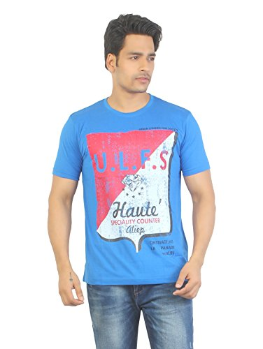 Aliep Aliep Stylish Royal Blue Printed Half Sleeves T-Shirt For Men | ALP1616 (Multicolor)