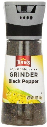 Tone's Adjustable Grinder Black Pepper, 5.5 Ounce