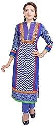 Geroo Women's Cotton Regular Fit Kurta (MKK-1529AZ, Blue, XL)