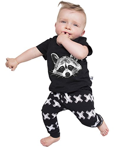 Newborn Organic Fox Baby Girls Boys Tops T-shirt+pants Leggings 2pcs Outfits Set (0-6 Months, Black&white)