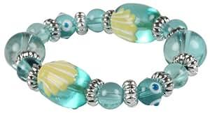 Light Blue Hand-Painted Seashell Kids Stretch Bracelet