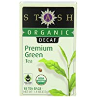 Stash Tea Company Organic Decaf Premium Green Tea, 18 Count Tea Bags in Foil (Pack of 6)