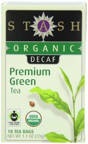 Stash Tea Organic Decaf Premium Green Tea, 18 Count Tea Bags In Foil (Pack Of 6)