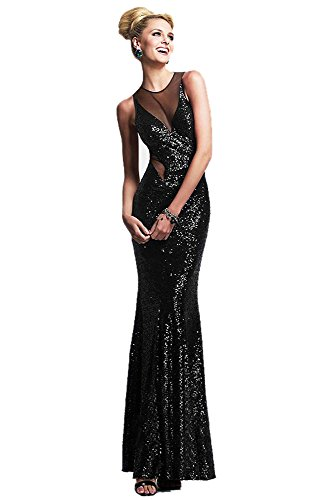 Women's Black Gorgeous Jersey Shiny Sparkling Trim Evening Dress Long Gown (Large Size)
