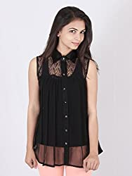 Ethnic For You Z Black Georgette Sleeveless Top