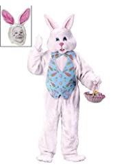 Easter Bunny Costume Deluxe Adult White With Blue Vest and Mascot Head 