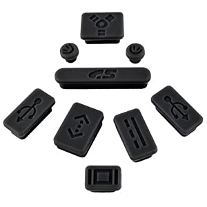 Insten® 9-pieces Anti-dust Silicone Plug Cup Compatible With Apple® MacBook® Pro, Black