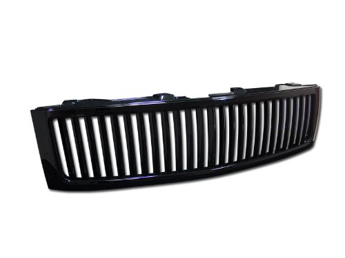 BLACK VERTICAL FRONT HOOD BUMPER GRILL GRILLE GUARD ABS 2007-2013 CHEVY SILVERADO 1500 NEW BODY STYLE MODEL (2009 Chevy 2500 Hd Grill Guard compare prices)