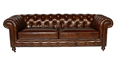 Leather Chesterfield Sofa in Antiqued Vintage Leather by Lazzaro 5503 Senator Collection 0