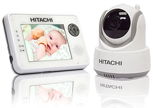 Hitachi Baby Monitor with Night Vision and Auto Tracking, White/Gray