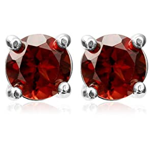Sterling Silver 6mm Round Garnet Stud Earrings
