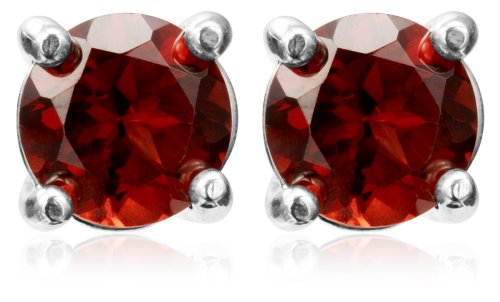 Sterling Silver 8mm Round Garnet Earrings