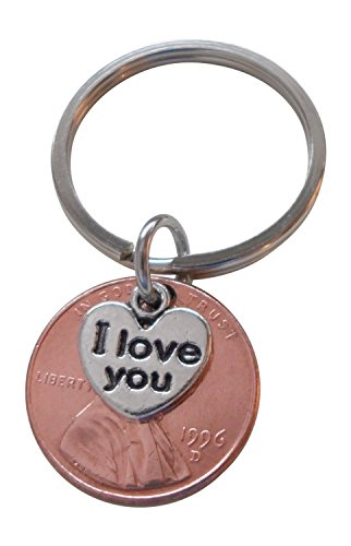I Love You Heart Charm Layered Over 1996 Penny Keychain, 20 Year Anniversary Gift