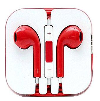 Red - Headphones W/ Mic & Vol Contrl Ear Pod Headset For Iphone/Ipod/Ipad