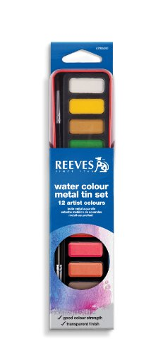 Reeves Water Color Pans with Red Metal Tin, Set of 12 - 1