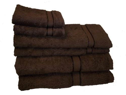 Prestige 100-Percent Egyptian Cotton With Rayon Dobby 6-Piece Towel Set, Cocoa