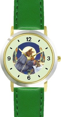 Mommy & Baby Bunny Rabbit Watching Moon From Bedroom Window - From Hush Little Baby By Artist: Sylvia Long - Watchbuddy® Deluxe Two-Tone Theme Watch - Arabic Numbers - Green Leather Strap-Size-Large ( Men'S Size Or Jumbo Women'S Size )