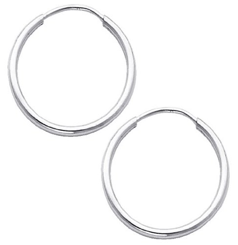 14K White Gold 1.5mm Thickness High Polished Endless Hoop Earrings (0.7