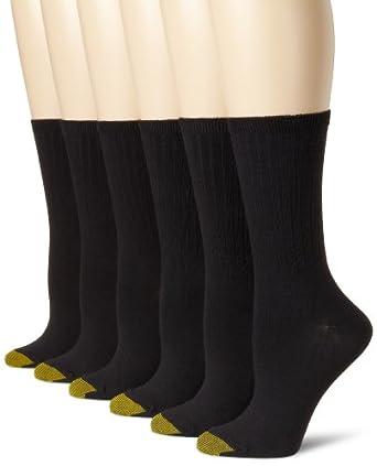 Gold Toe Women's 6 Pack Ribbed Crew Socks, Black, 9-11