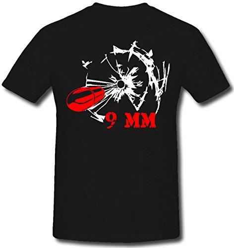 9 mm pistola munizioni pistola colpi un colpo fori - T-Shirt #66 nero XX-Large