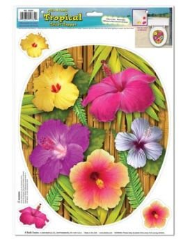 Tropical Toilet Topper Peel 'N Place (3 hibiscus included) Party Accessory  (1 count) (1/Sh)