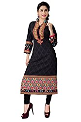 Fashion Galleria Women's Black Printed American Creap Kurti