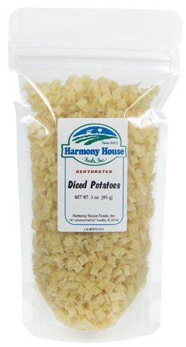 Harmony House Foods Dried Potatoes, Diced (3 Oz, Zip Pouch) For Cooking, Camping, Emergency Supply, And More