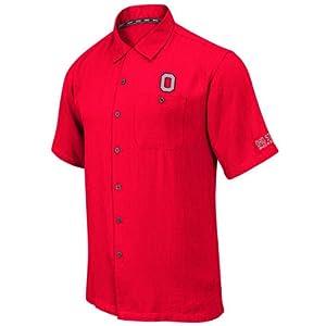 Ohio State Buckeyes Mens Scarlet Bermuda Camp Shirt by Chiliwear LLC