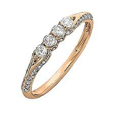 buy 0.50 Carat (Ctw) 18K Rose Gold Round Diamond Ladies Anniversary Wedding Band Stackable Ring 1/2 Ct (Size 7)