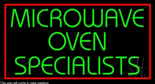 "Microwave Ovan Specialist 1 Clear Backing Neon Sign 20"" Tall X 37"" Wide"