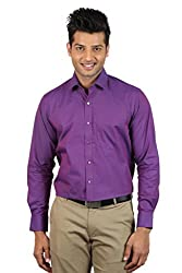 Le Tailor Men's Slim Fit Shirt ( SLFS116,Maroon,M )